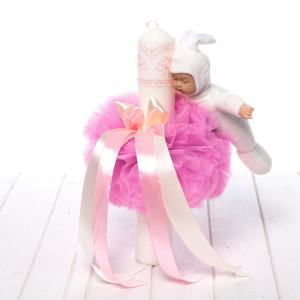 Lumanare botez fetite tulle roz, dantela si bebelus