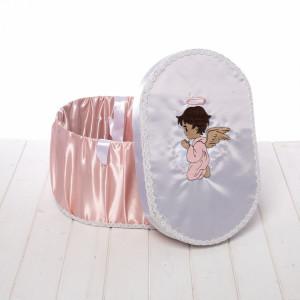 Cutie trusou botez roz pudra cu ingeras