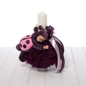 Lumanare botez decor pruna si figurina bebelus