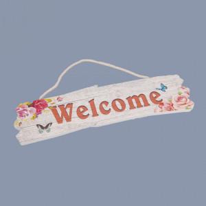 Decor botez Welcome cu fluturi si flori