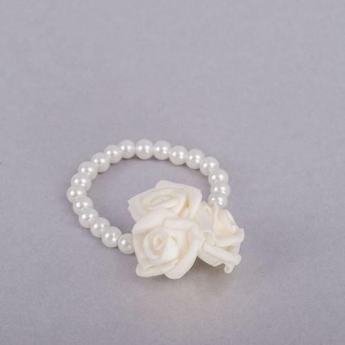 Corsaj margele cu trei trandafiri ivory