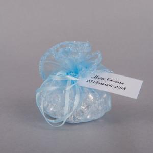 Marturii botez saculeti rotunzi bleu cu fir argintiu