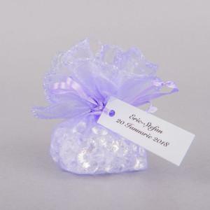 Marturii botez saculeti rotunzi lila cu fir argintiu