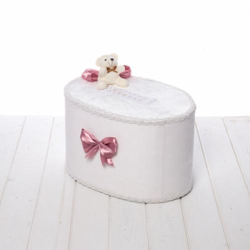 Cutie de dar fetite cu ursulet si funda roz