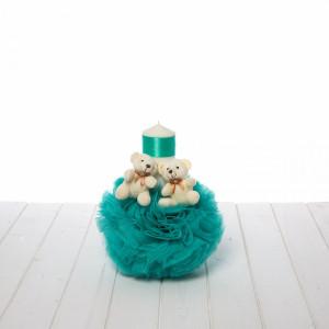Lumanare botez verde menta cu ursuleti plus