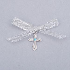 Cruciulite botez cu pietricica bleu si fundita argintie