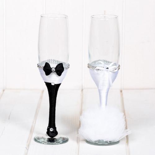 Set pahare albe mire si mireasa cu strassuri