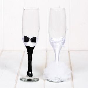 Set pahare albe mire si mireasa