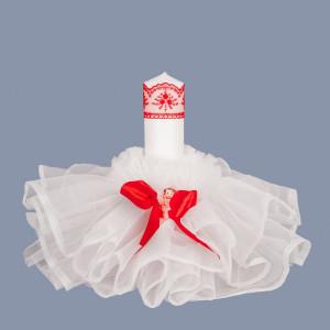 Lumanare botez cu tulle alb, decor rosu si ingeras