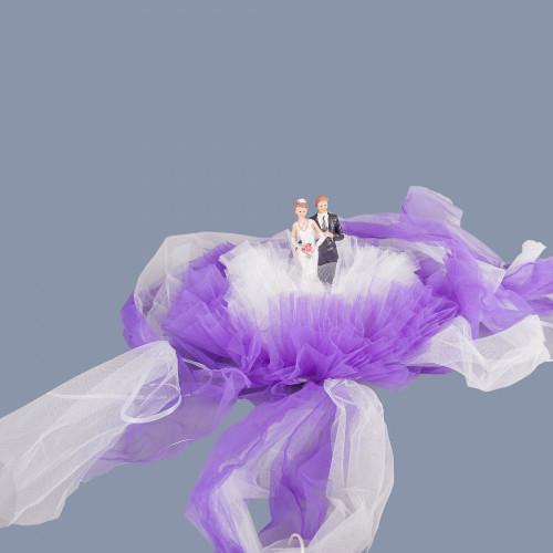Decor masina nunta Miri cu tulle mov si alb