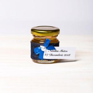 Marturii borcanele miere botez dantela bleumarin si fundita albastra