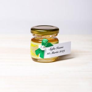 Marturii borcanele miere botez dantela galbena cu fundita verde