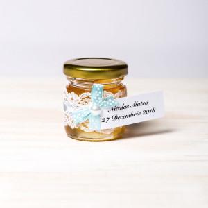 Marturii botez borcanele miere cu fundita bleu si buline albe