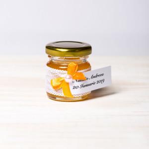 Marturii botez borcanele miere dantela alba si fundita portocalie