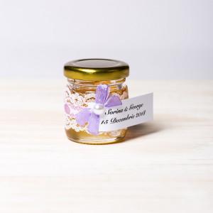 Marturii botez borcanele miere fundita lila si dantela cu fir lila