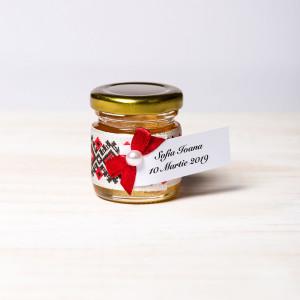 Marturii borcanele miere nunta fundita grena si dantela cu motive traditionale