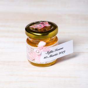 Marturii borcanele miere nunta cu fluture roz