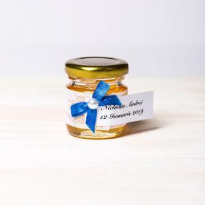 Marturii borcanele miere nunta cu fundita albastra
