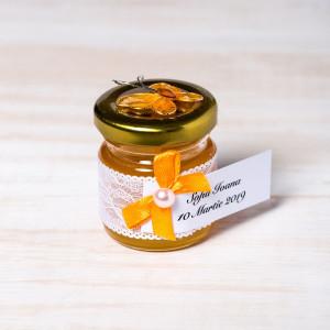 Marturii borcanele miere nunta cu fluture portocaliu