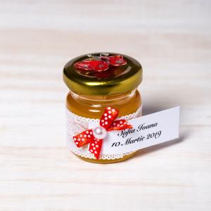 Marturii borcanele miere nunta cu fluture rosu