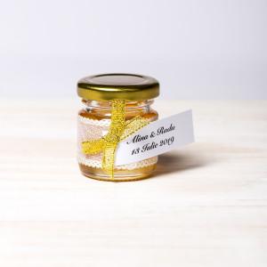 Marturii borcanele miere nunta fundita aurie si dantela cu fir auriu