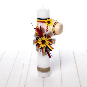 Lumanare botez floarea-soarelui, tricolor si clop