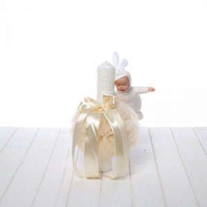 Lumanare botez tulle si panglica ivory cu bebelus