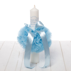 Lumanare botez decor bleu Cu mult drag de la nasi