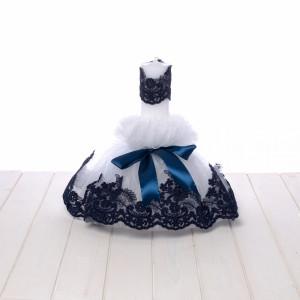 Lumanare botez tulle alb si dantela bleumarin