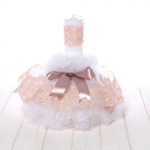 Lumanare botez tulle alb si dantela roz pudra