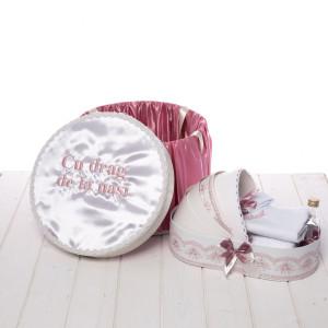 Set trusou botez roz pudra si cutie rotunda Cu drag de la nasi