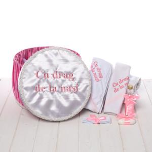 Set trusou botez roz si cutie rotunda Cu drag de la nasi