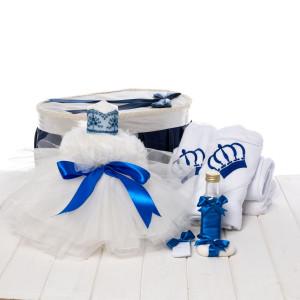 Set botez baieti cutie, trusou coroana si lumanare tulle alb si funda albastra