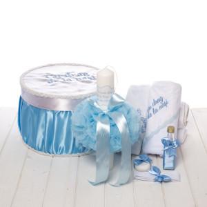 Set botez bleu cutie, trusou si lumanare Cu drag de la nasi