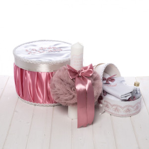 Set botez fetite cutie, trusou si lumanare roz pudra