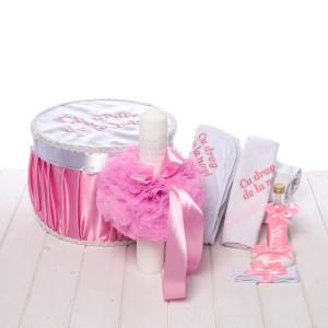 Set botez roz cutie, trusou, lumanare Cu drag de la nasi