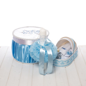 Set botez bleu cutie, trusou si lumanare baieti