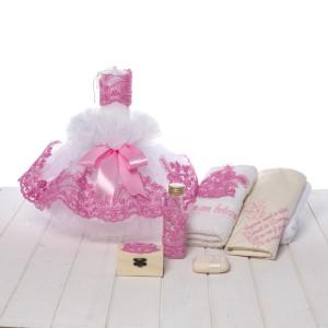 Set botez lumanare si trusou dantela roz