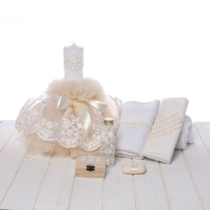 Set botez lumanare si trusou dantela ivory cu rugaciune