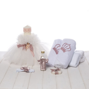 Set botez lumanare ingeras si trusou coronita roz pudra