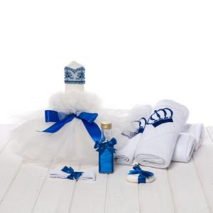 Set botez lumanare si trusou coronita albastra