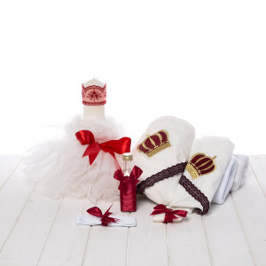 Set botez fete lumanare panglica rosie si trusou coronita grena