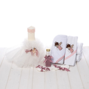 Set biserica trusou si lumanare roz pudra botez cu ingeras