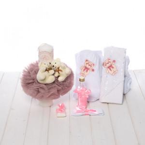 Set trusou si lumanare botez roz pudra cu ursuleti pentru fetite