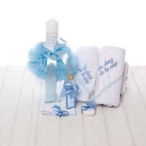 Set botez bleu lumanare si trusou Cu drag de la nasi