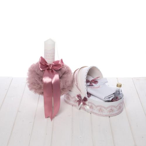 Set botez roz pudra trusou in landou si lumanare Cu drag de la nasi