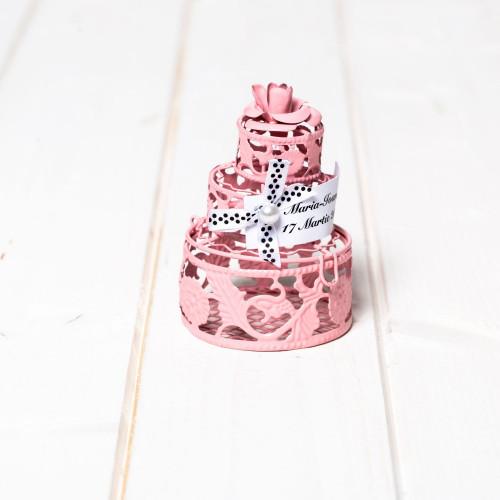 Marturii botez tort roz din din sarma