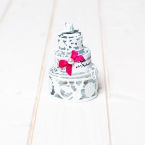 Marturii nunta tort alb din din sarma