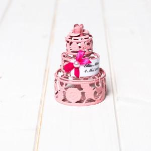 Marturii nunta tort roz din sarma