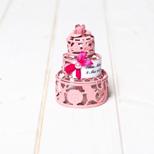 Marturii nunta tort roz din din sarma